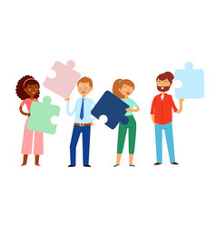 composition people holding puzzles in their hands vector image