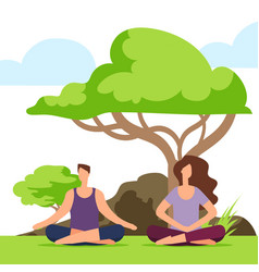 couple meditation in the park girl and boy doing vector image