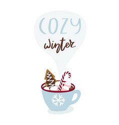 cute greeting card with cup hot chocolate and vector image