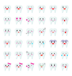 cute tooth cartoon emoticon set flat style vector image