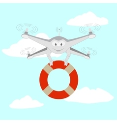 Drone rescue on water vector