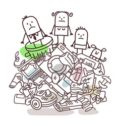 Family on a pile garbage vector