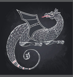 fantasy creature dragon medieval heraldic coat of vector image
