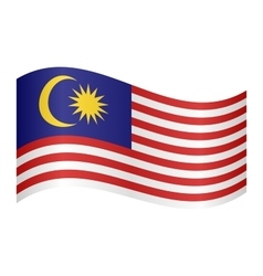 Flag of Malaysia waving on white background vector image