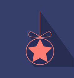 flat christmas ball icon vector image