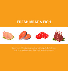 fresh meat and fish realistic banner template vector image