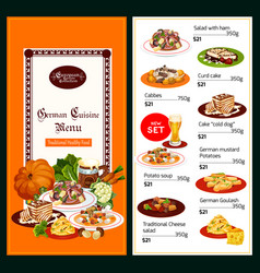 German cuisine menu salads and desserts vector