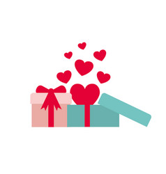 gift boxes with hearts isolated icon vector image