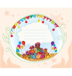 Gifts with balloons vector