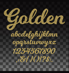 Gold glitter font golden alphabet with vector