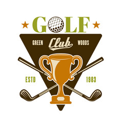 golf emblem badge logo with champion cup vector image