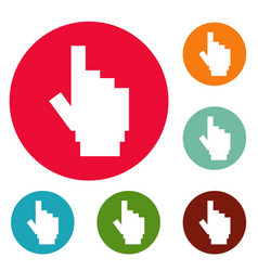 Hand cursor pixel icons circle set vector