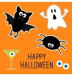 Happy halloween ghost bat spider eyes martini vector