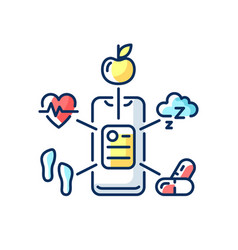 Health data collection rgb color icon vector