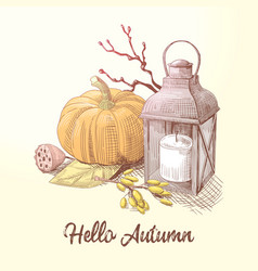 Hello autumn composition with pumpkin and candle vector