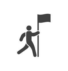 Icon of a man running to the flag vector