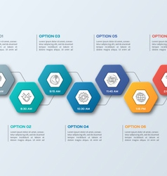 infographic template with hexagons 7 options vector image