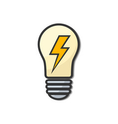 light bulb icon cartoon with energy sign stock vector image