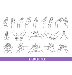 linear women hands gestures vector image