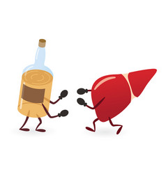 Liver and alcoholic drink bottle fighting vector