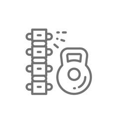 Load on spine backache low back pain line icon vector