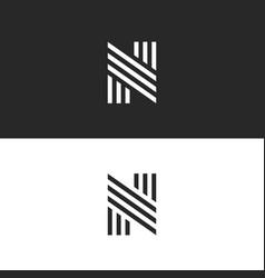 logo n letter initial monogram hipster simple vector image