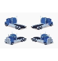 Low poly blue heavy truck vector image