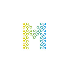 M circuit technology letter and number logo icon vector