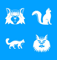maine coon cat profile icons set simple style vector image