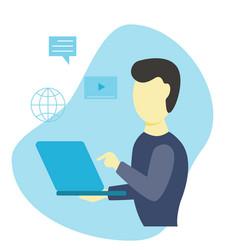 man goes through online training flat design vector image