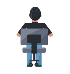 man sitting on a chair vector image