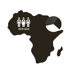 Map africa with covid 19 information and icons vector