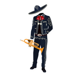 Mariachi musician with trumpet vector