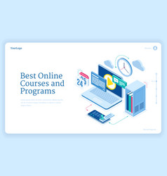online courses and programs isometric landing page vector image