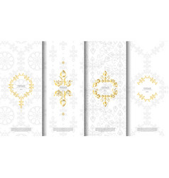 packaging template islamic white pattern design vector image