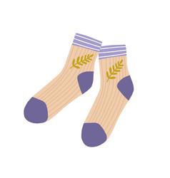 Pair cotton socks trendy wool feet apparel vector