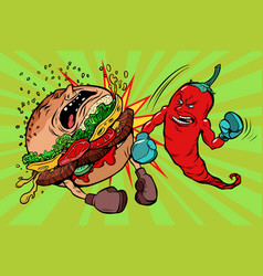 Pepper beats burger vegetarianism vs fast food vector