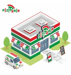 Pizzeria building vector