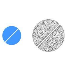 Polygonal mesh medication tablet and flat vector