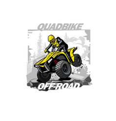 Quad bike off-road logo with mountain background vector