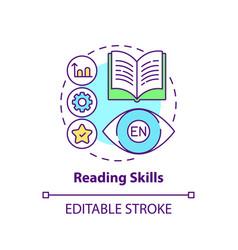 Reading skills concept icon vector