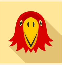red parrot head icon flat style vector image