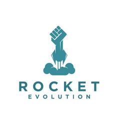 Rocket hand modern future technology evolution vector