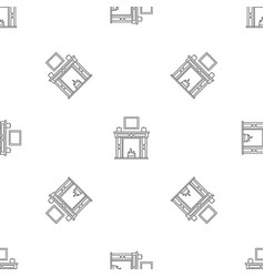 Room fire place pattern seamless vector