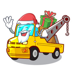 Santa with gift tow truck for vehicle branding vector