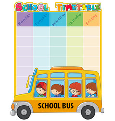 School timetable template with bus and kids vector