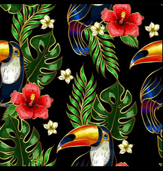 seamless pattern of toucan embroidery vector image