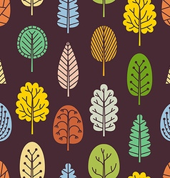 Seamless pattern with hand-drawn trees vector