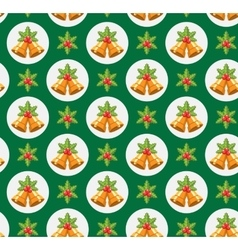 Seamless Traditional Christmas Pattern with Holly vector image
