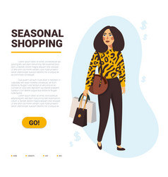 seasonal shopping concept stylish women carrying vector image